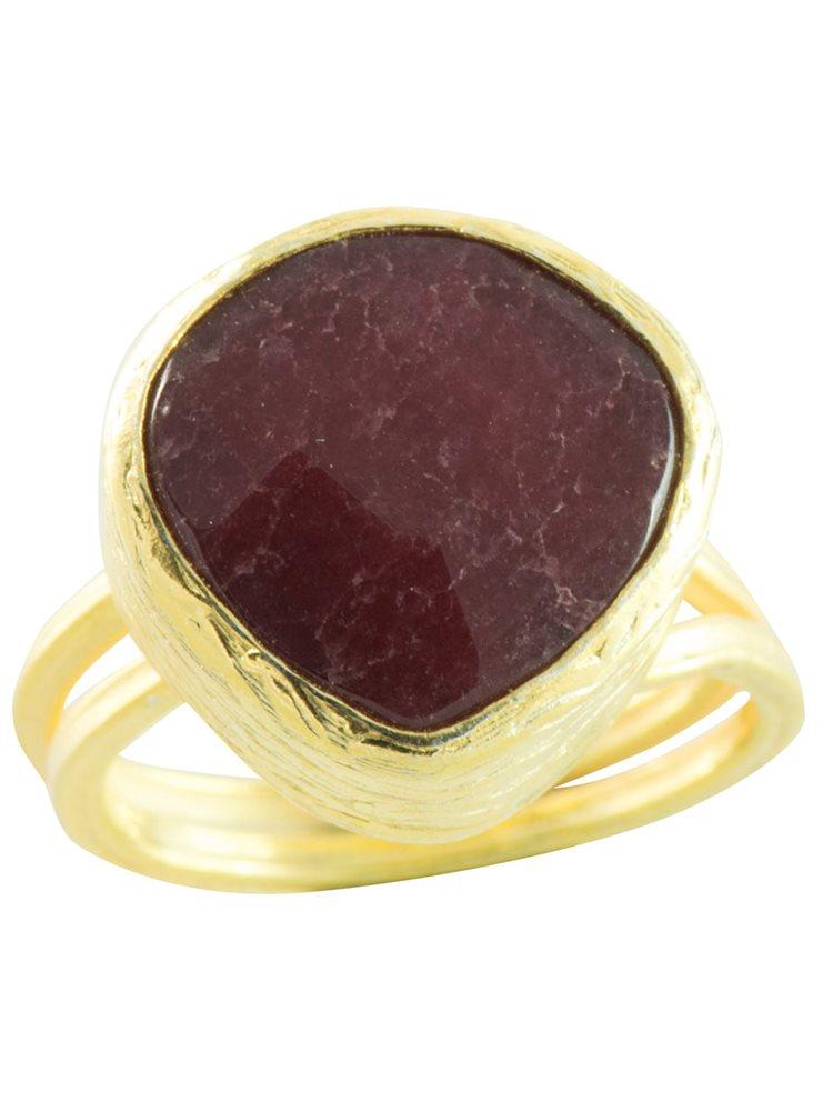 Δαχτυλίδι από επιχρυσωμένο ασήμι με πέτρα red jade