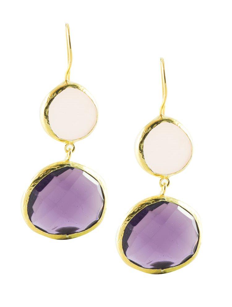 Σκουλαρίκια από επιχρωσμένο ασήμι με διπλές πέτρες ρόζ Quartz και αμέθυστου