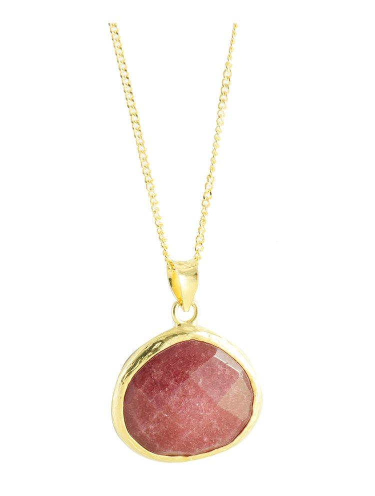 Κολιέ εντυπωσιακό από επιχρυσωμένο ασήμι με πέτρες red jade