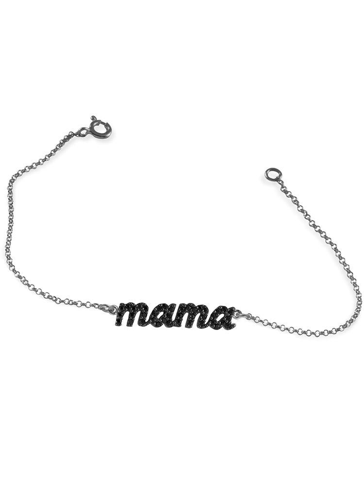 Βραχιόλι Mama (Μαμά) από ασήμι 925 με πέτρες ζιργκόν
