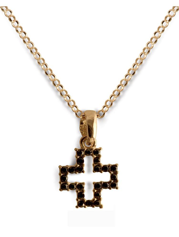 Κολιέ σταυρός από ρόζ-επιχρυσωμένο ασήμι με πέτρες Swarovski