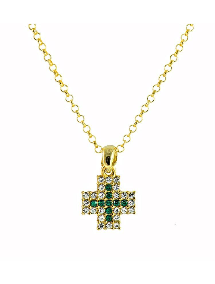 Κολιέ σταυρός από επιχρυσωμένο ασήμι με πέτρες swarovski
