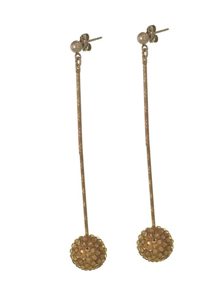 Σκουλαρίκια από επιχρυσωμένο ασήμι με μπίλιες Swarovski