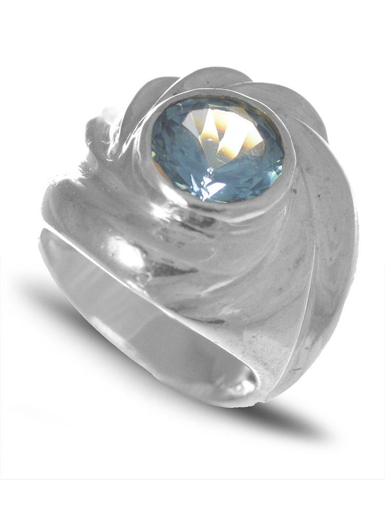Δαχτυλίδι από ασήμι 925 με μπλέ πέτρα ζιργκόν