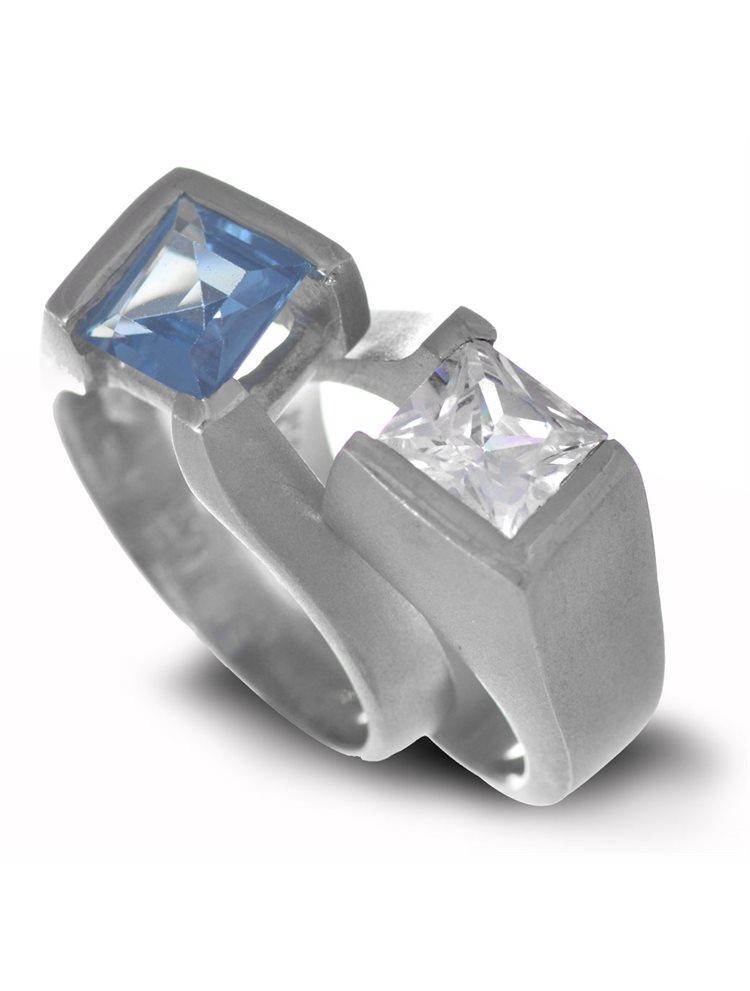 Δαχτυλίδι διπλό από ασήμι 925 με πέτρες ζιργκόν