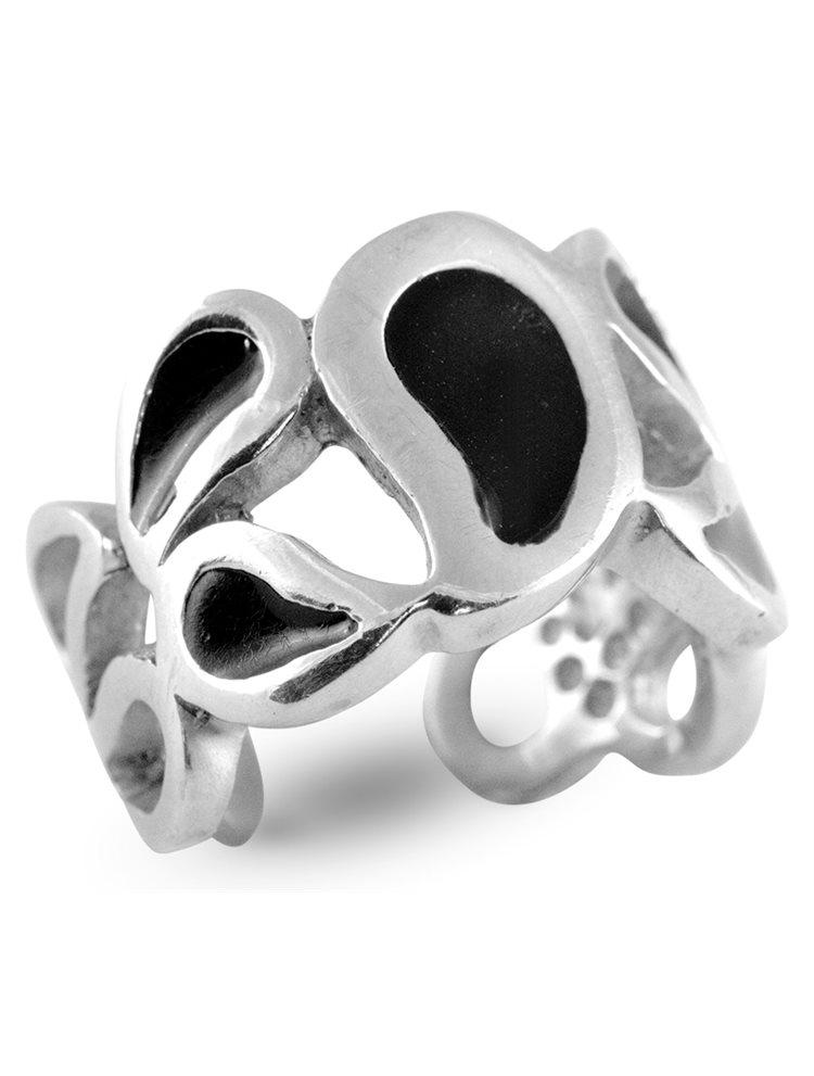 Ασημένιο Δαχτυλίδι με μαύρο σμάλτο
