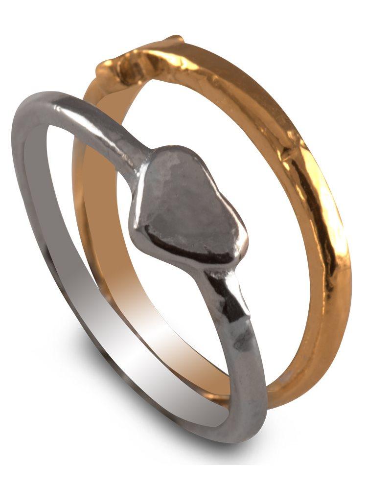Χειροποίητο δαχτυλίδι από επιχρυσωμένο ασήμι 925 - Διπλό