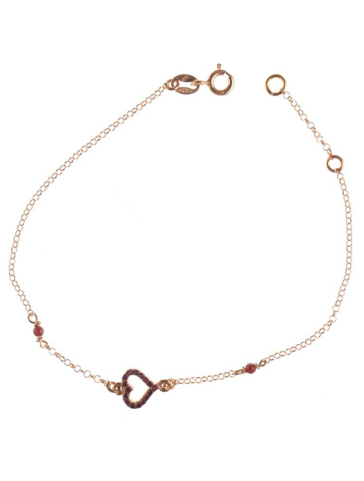 Βραχιόλι καρδιά από ρόζ επιχρυσωμένο ασήμι με πέτρες ζιργκόν