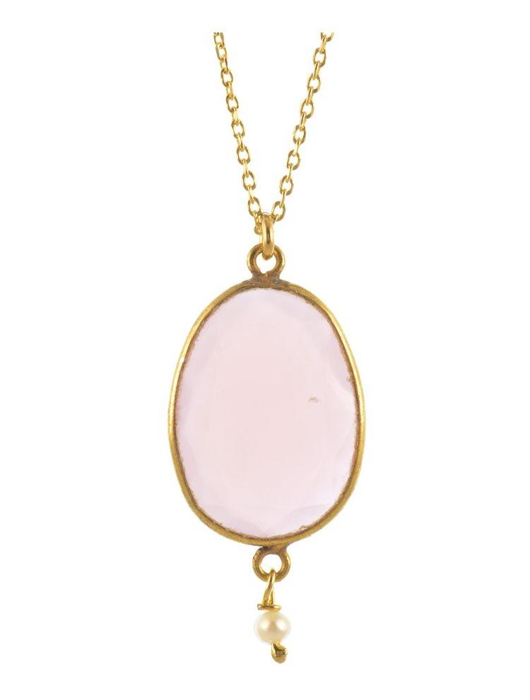 Κολιέ από επιχρυσωμένο ασήμι με πέτρα pink quartz