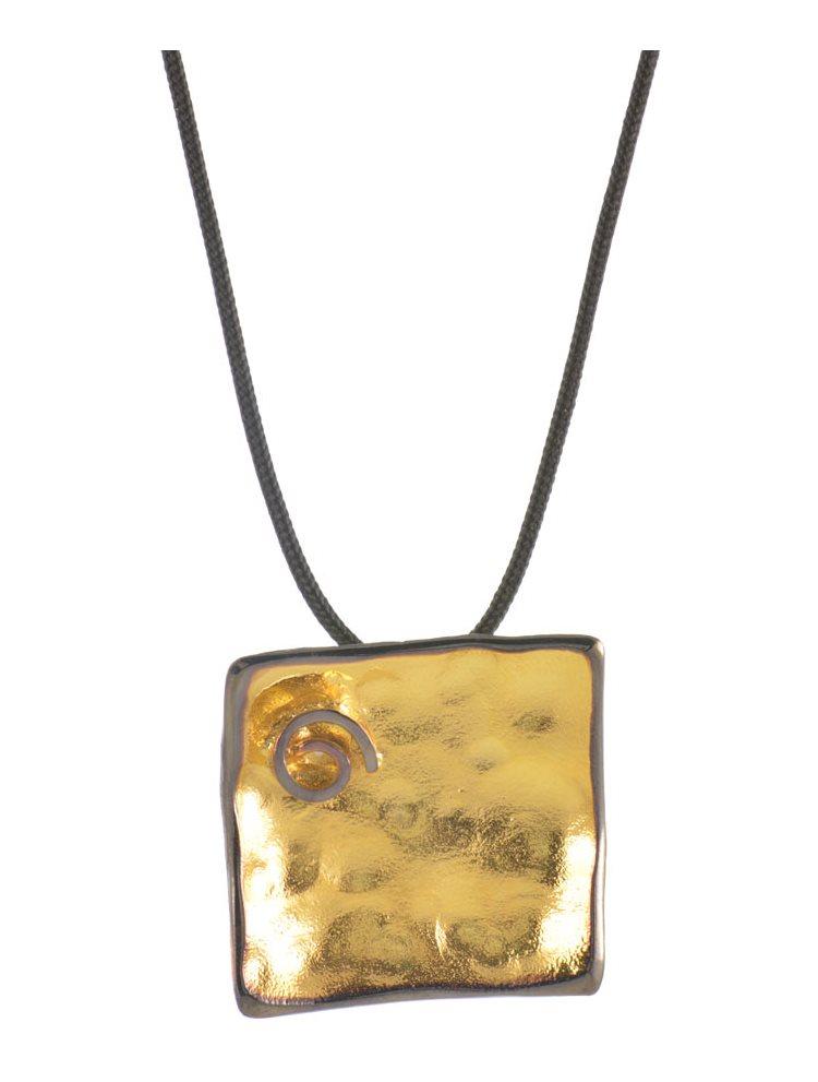 Χειροποίητο κολιέ από επιχρυσωμένο ασήμι 925 με κορδόνι