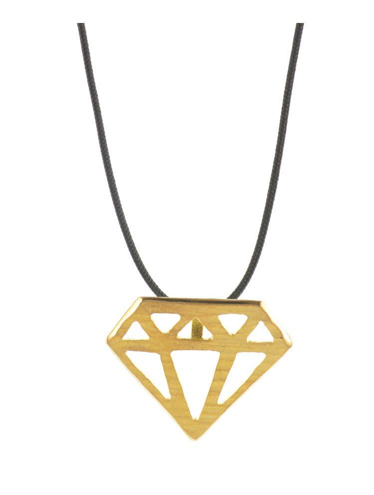 Χειροποίητο κολιέ 'διαμάντι' από επιχρυσωμένο ασήμι 925 με κορδόνι