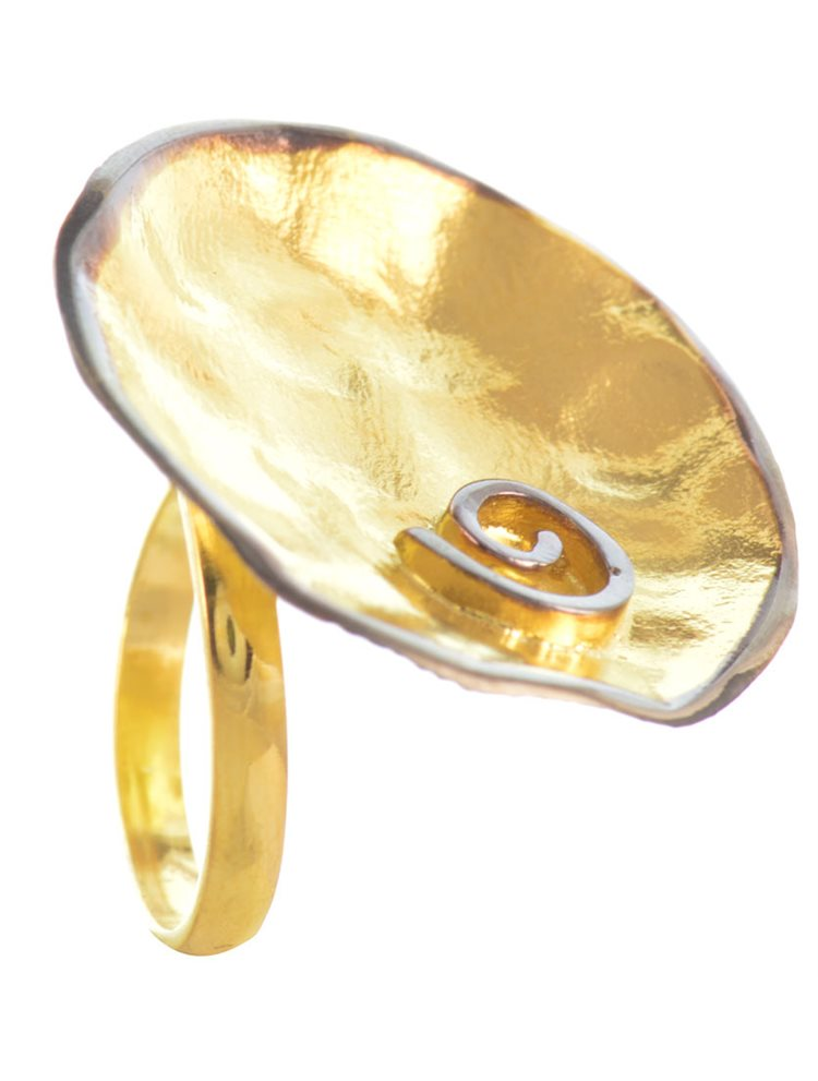 Χειροποίητο δαχτυλίδι από επιχρυσωμένο ασήμι