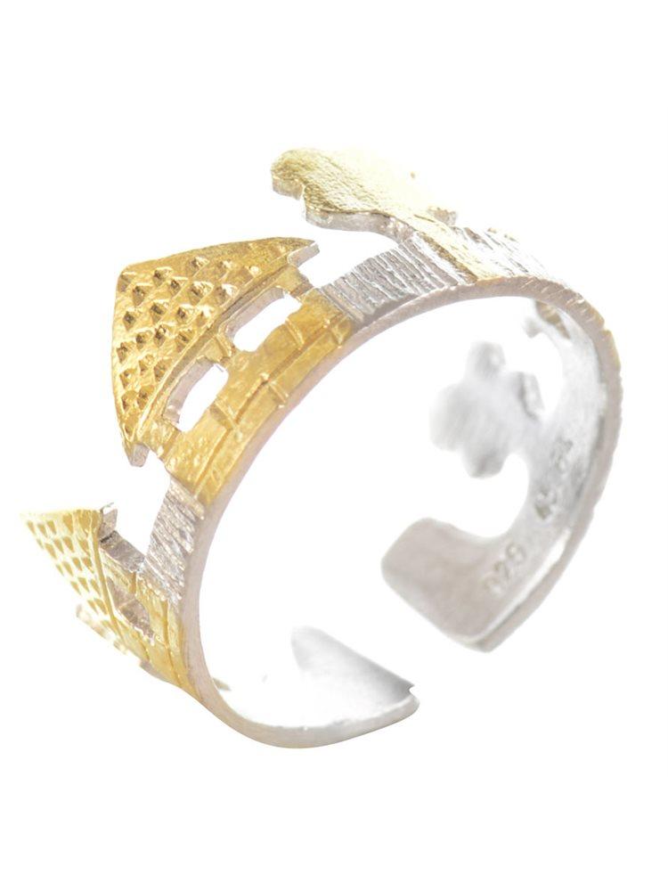 Χειροποίητο δαχτυλίδι σεβαλιέ 'σπιτάκι' από ασήμι