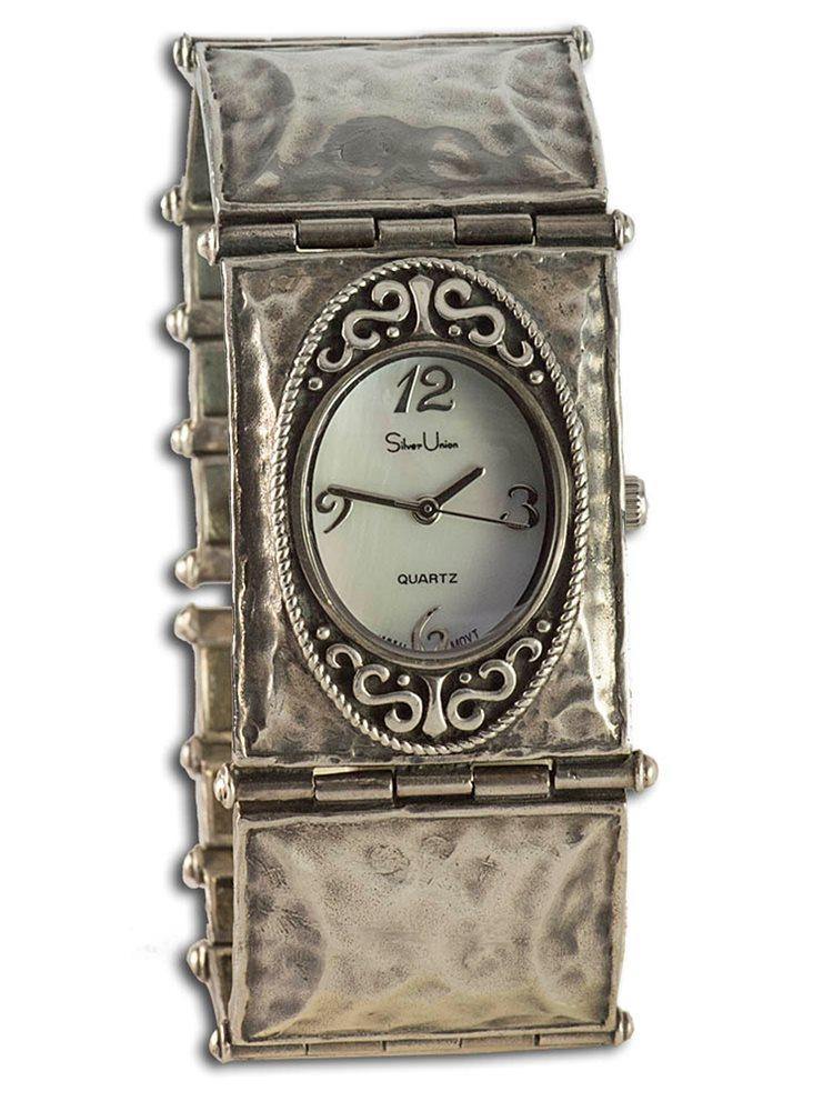 Ασημένιο ρολόι με καντράν από γνήσιο φίλντισι 8987654