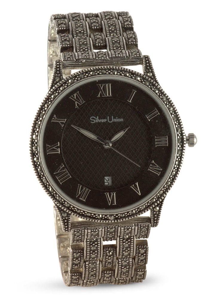 Ασημένιο ρολόι που στολίζεται με πέτρες μαρκασίτη 8987656