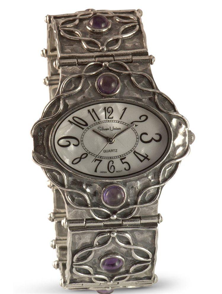 Ασημένιο ρολόι με αμέθυστο και καντράν από γνήσιο φίλντισι 8987657
