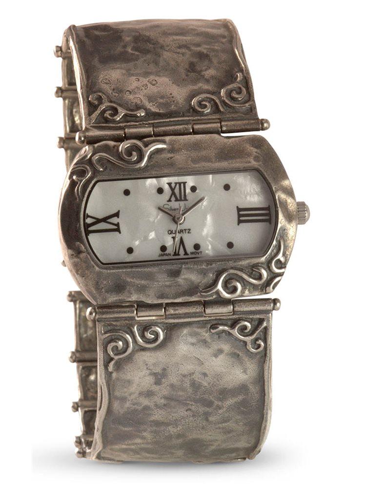Ασημένιο ρολόι με καντράν από γνήσιο φίλντισι 8987658