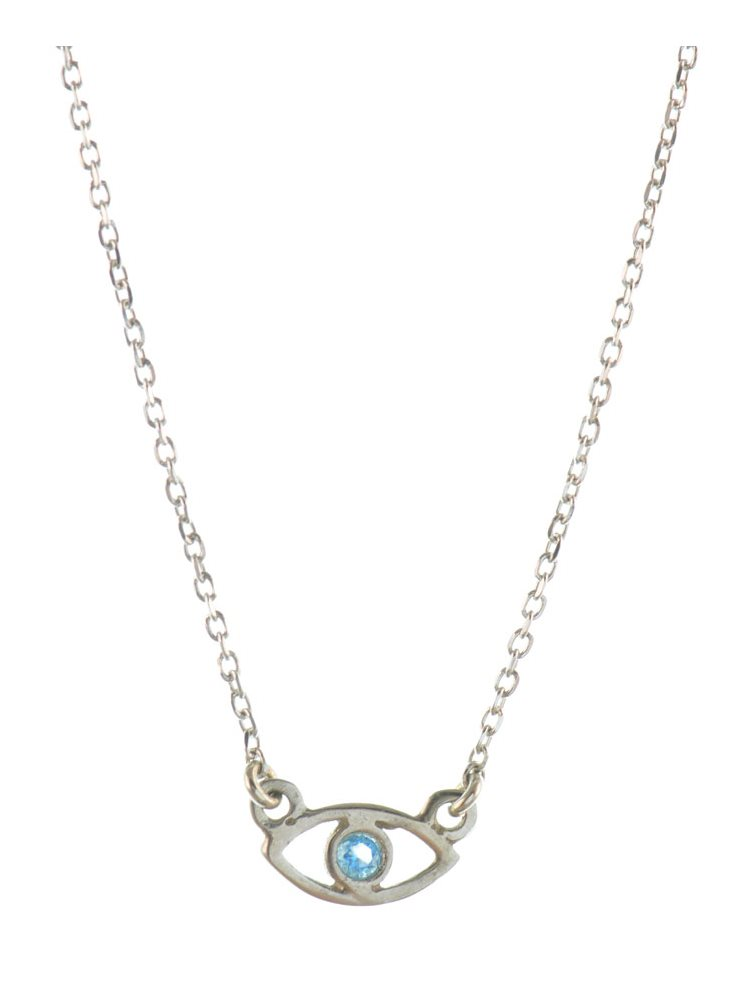 Κολιέ με διακριτικό ματάκι από ασήμι με γαλάζια πέτρα ζιργκόν
