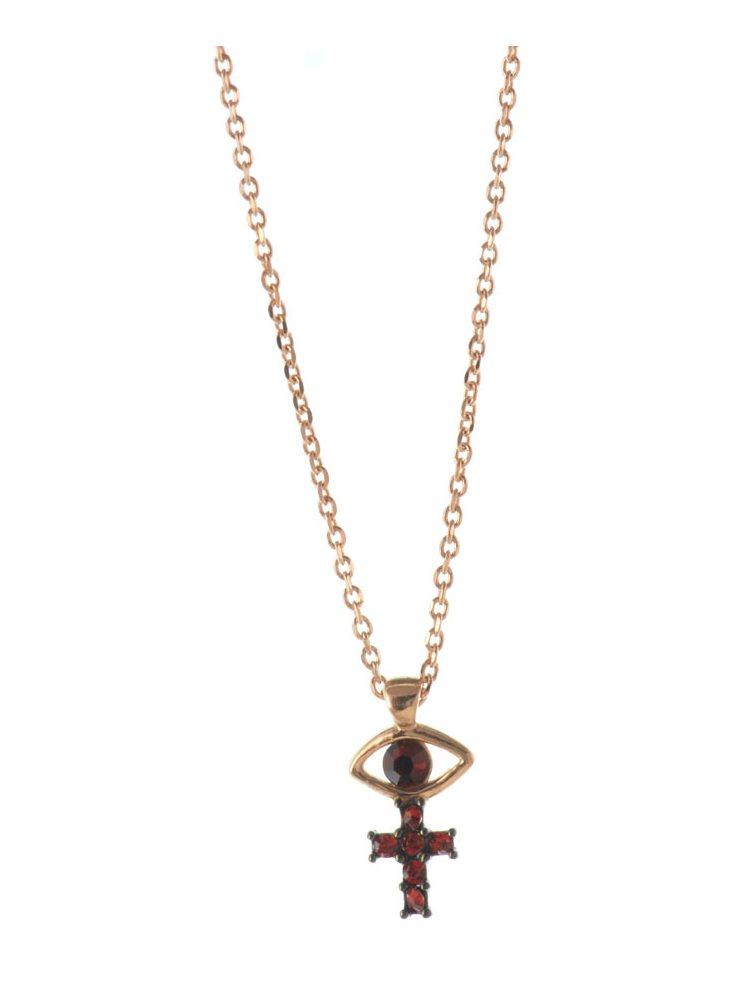 6198d2c3bd1 Κολιέ σταυρός με ματάκι με πέτρες swarovski από ρόζ επιχρυσωμένο ασήμι