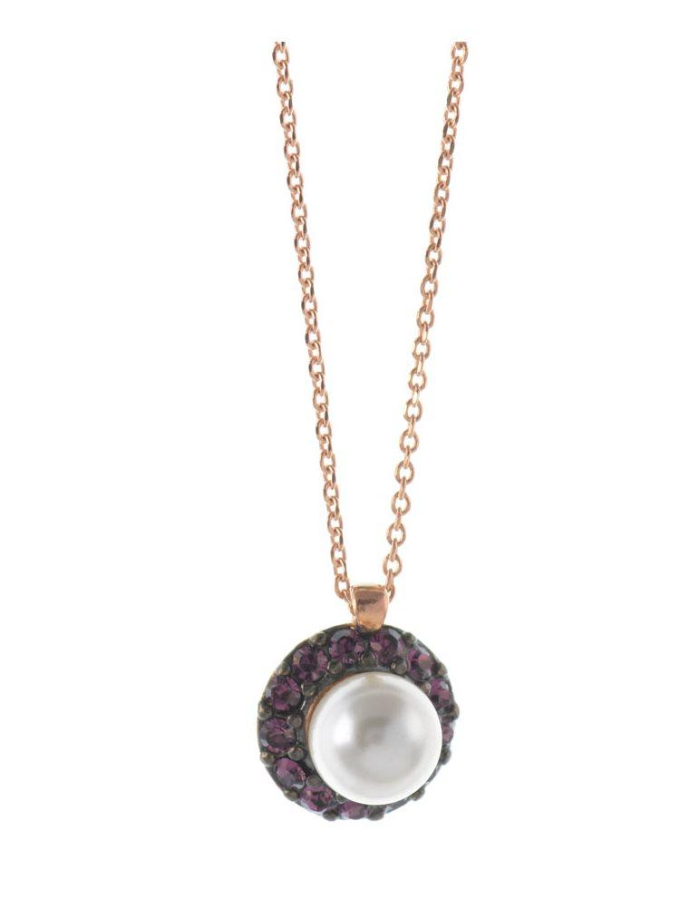Κολιέ με πέτρες swarovski και πέρλα από ρόζ επιχρυσωμένο ασήμι
