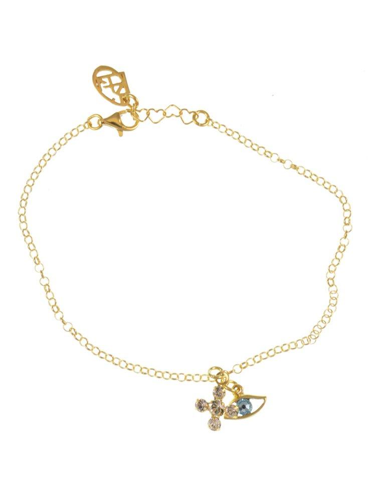 Βραχιόλι σταυρός με ματάκι από επιχρυσωμένο ασήμι με πέτρες swarovski 9e3ae004073