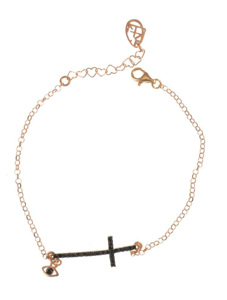 Βραχιόλι με σταυρό και ματάκι από ρόζ επιχρυσωμένο ασήμι με πέτρες swarovski