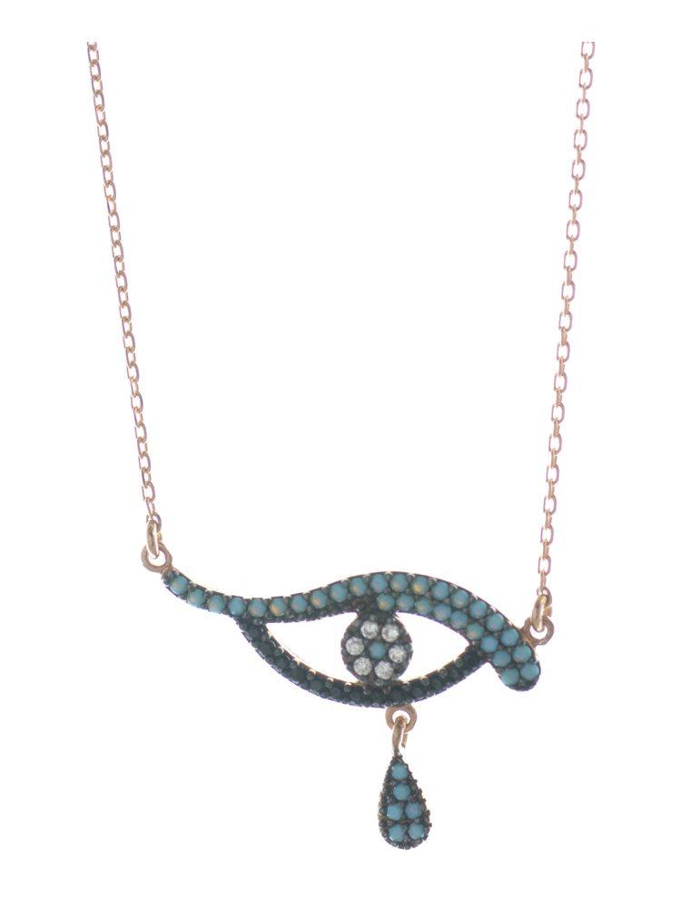Κολιέ με ματάκι και δάκρυ από ρόζ επιχρυσωμένο ασήμι με πέτρες ζιργκόν
