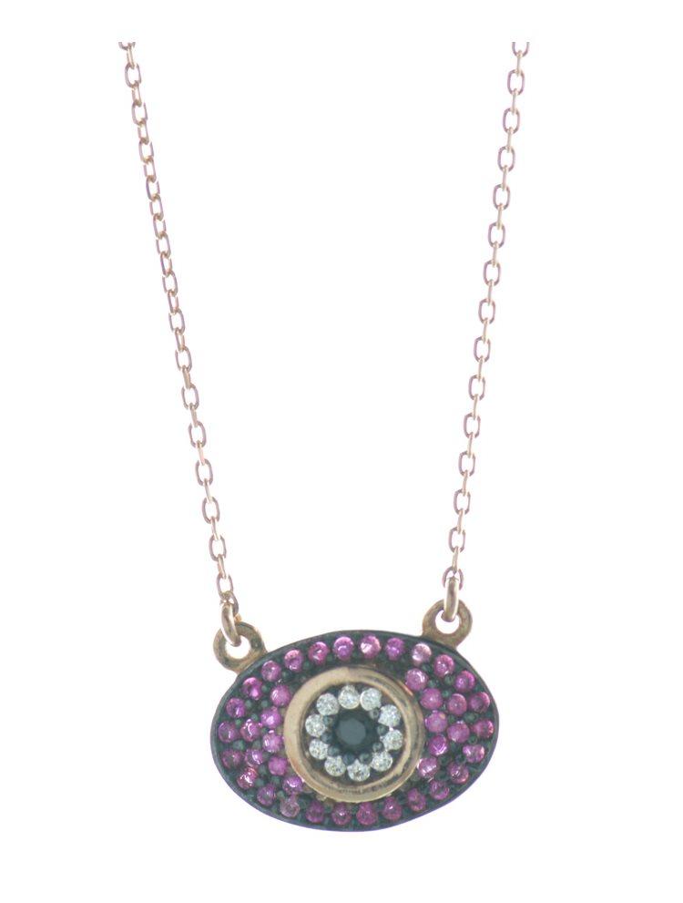 Trendy ματάκι από ρόζ επιχρυσωμένο ασήμι με πέτρες ζιργκόν