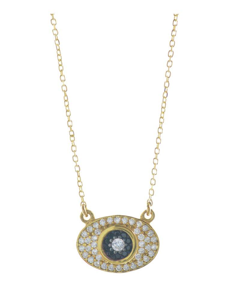Trendy ματάκι από επιχρυσωμένο ασήμι με πέτρες ζιργκόν
