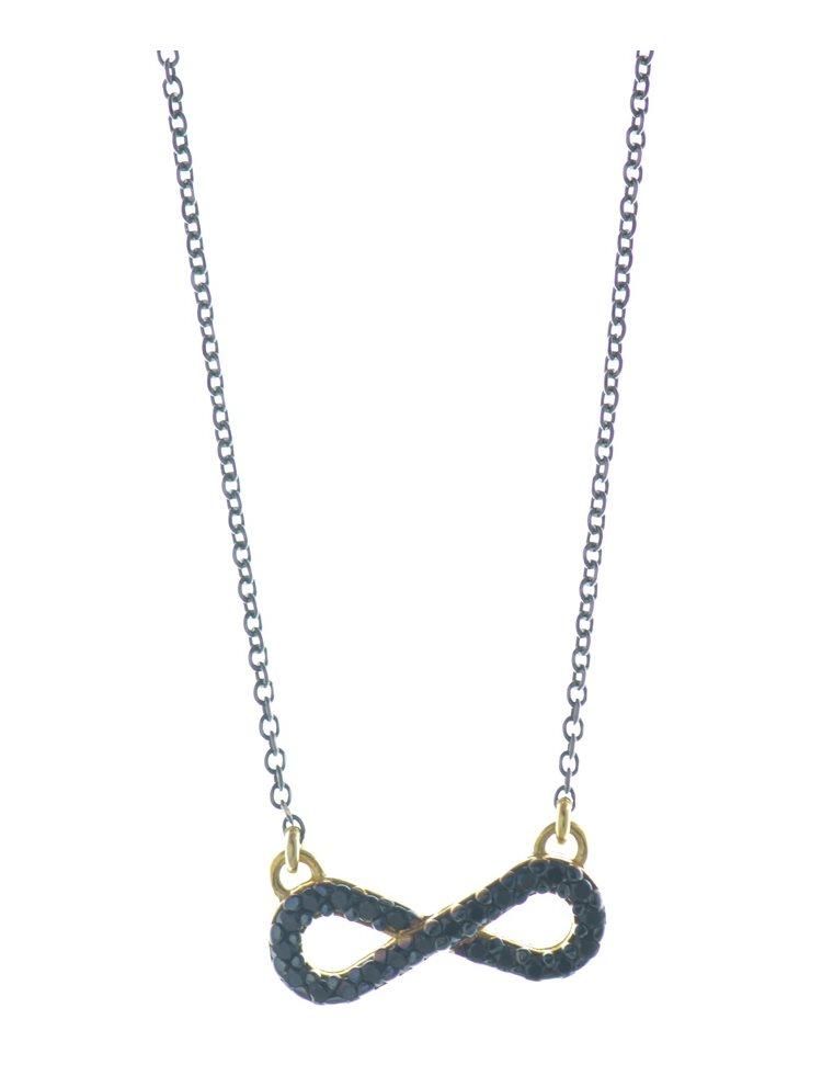 Κολιέ άπειρο από μαύρο πλατινωμένο ασήμι και επιχρυσωμένο ασήμι με πέτρες ζιργκόν