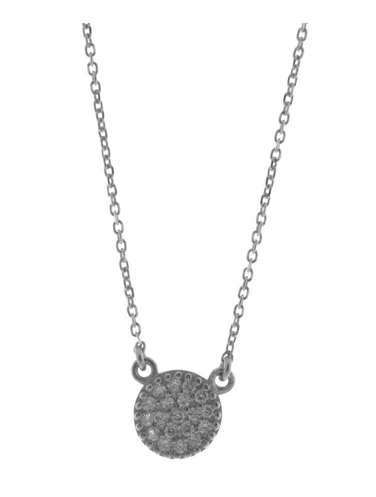 Κολιέ κύκλος small από ασήμι με πέτρες ζιργκόν
