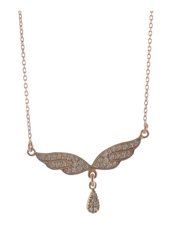 Κολιέ φτερό αγγέλου με δακράκι από ρόζ επιχρυσωμένο ασήμι με πέτρες ζιργκόν bfa093abe18