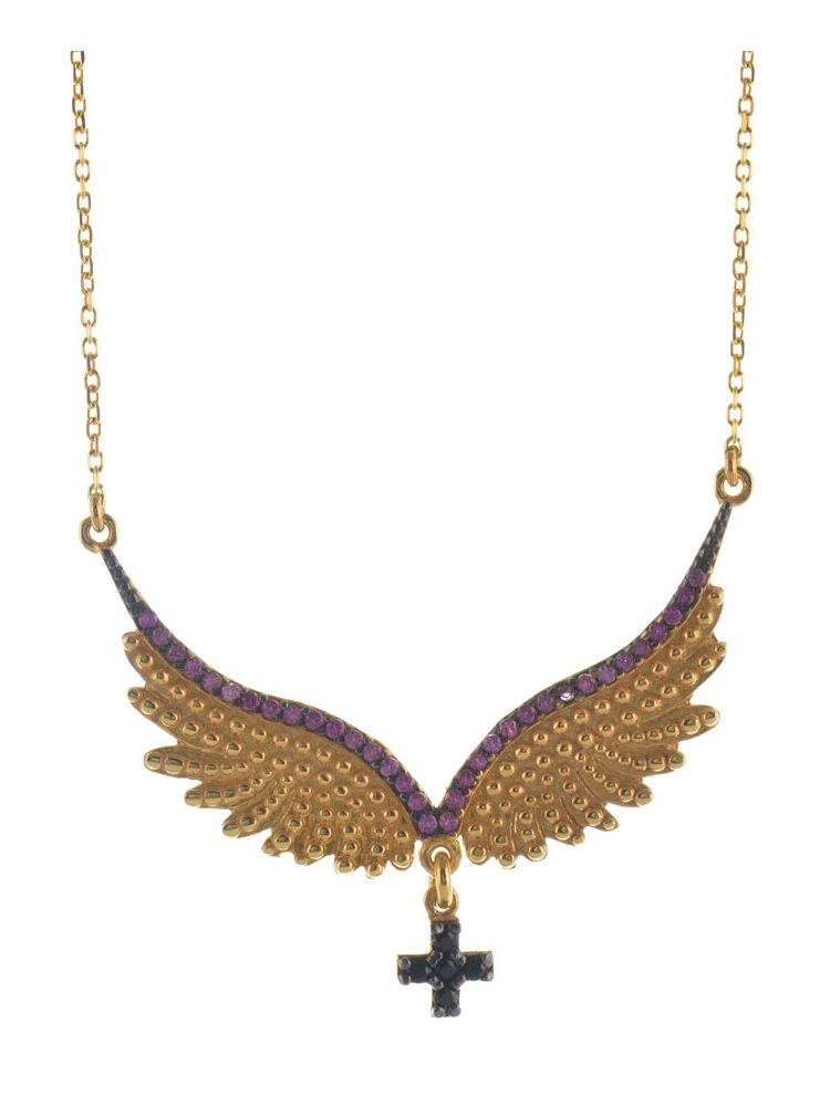 Εντυπωσιακό κολιέ φτερά αγγέλου από επιχρυσωμένο ασήμι με σταυρό και πέτρες ζιργκόν