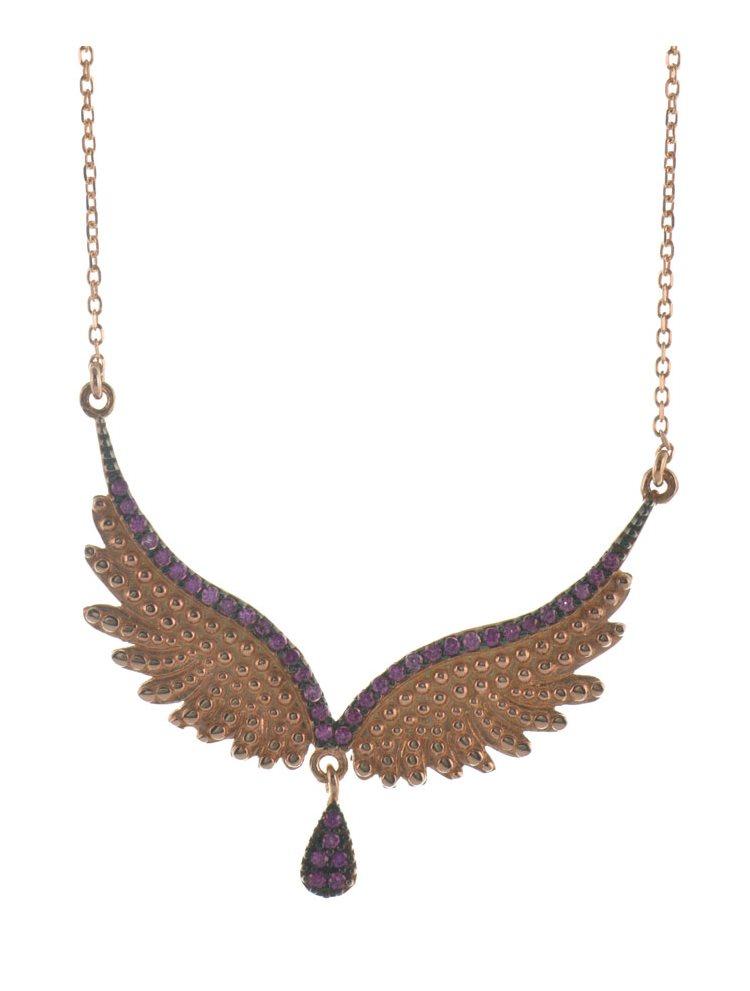 Εντυπωσιακό κολιέ φτερά αγγέλου από επιχρυσωμένο ασήμι με δακράκι και πέτρες ζιργκόν