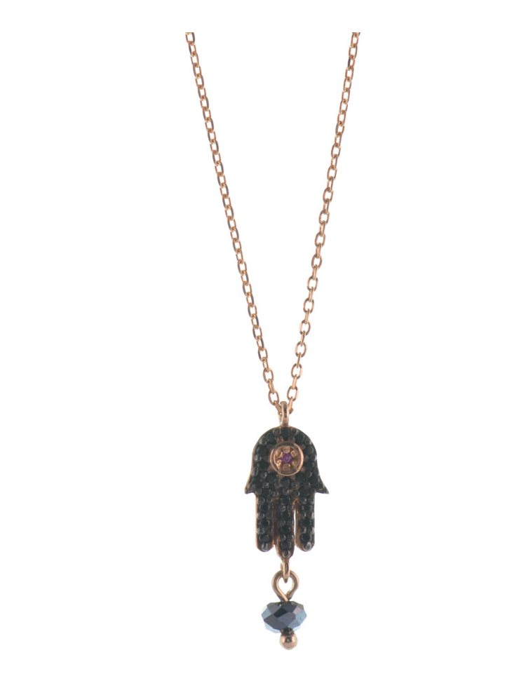 Κολιέ το χέρι της Φατιμά (Hamsa) από ρόζ επιχρυσωμένο ασήμι με πέτρες ζιργκόν