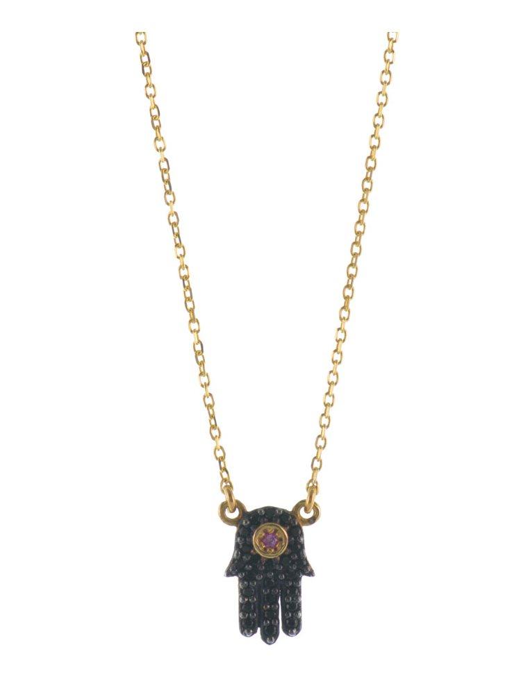 Κολιέ το χέρι της Φατιμά (Hamsa) από επιχρυσωμένο ασήμι με πέτρες ζιργκόν