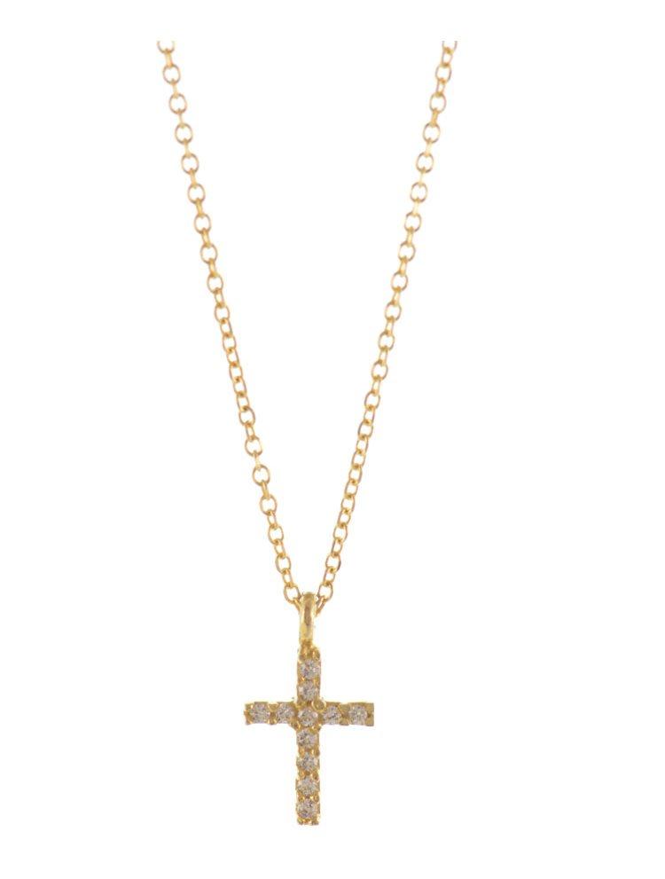 Κολιέ από γνήσιο χρυσό Κ14 με σταυρό και πέτρες ζιργκόν