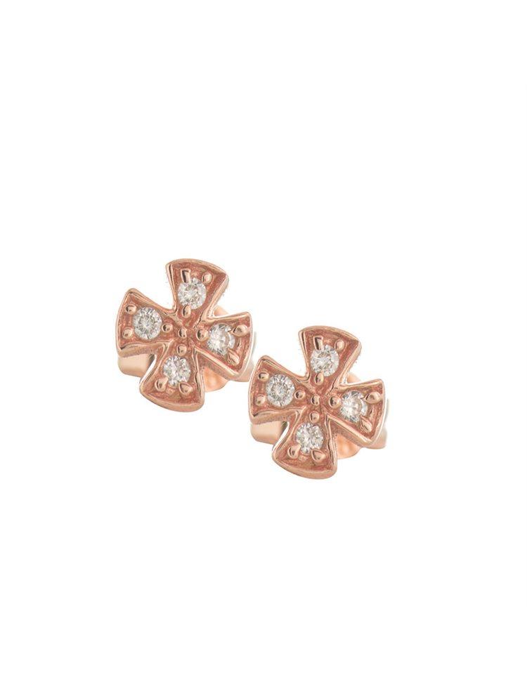 Σκουλαρίκια σταυροί από ρόζ επιχρυσωμένο ασήμι με πέτρες ζιργκόν
