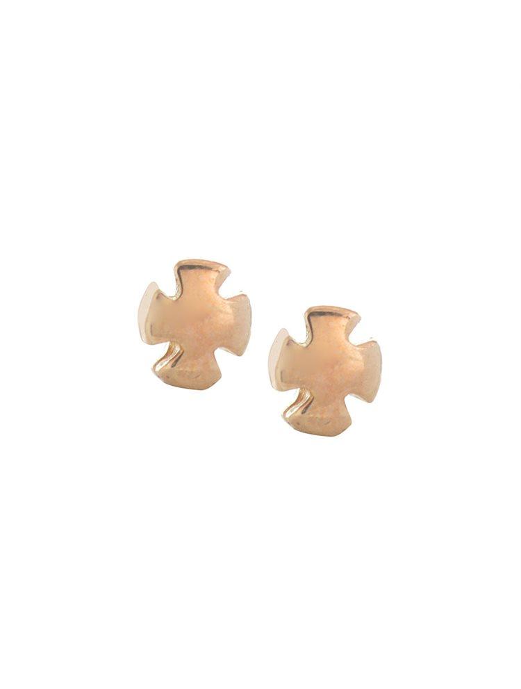 Σκουλαρίκια σταυροί από ρόζ επιχρυσωμένο ασήμι