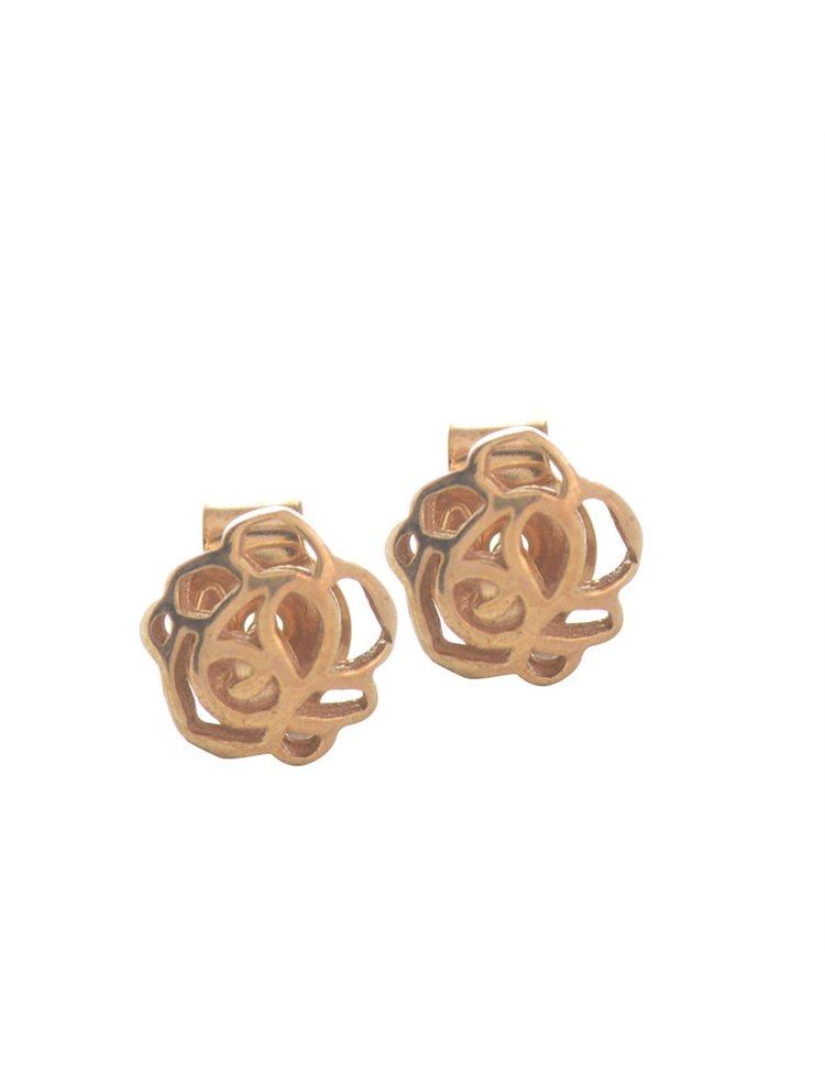 Σκουλαρίκια λουλούδι από ρόζ επιχρυσωμένο ασήμι