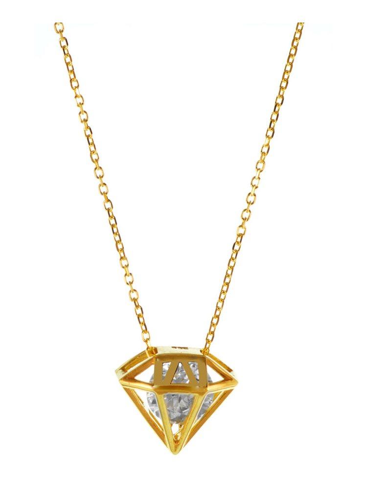 Κολιέ σε σχέδιο διαμαντιού με εντυπωσιακή εσωτερική πέτρα ζιργκόν σε επιχρυσωμένο ασήμι