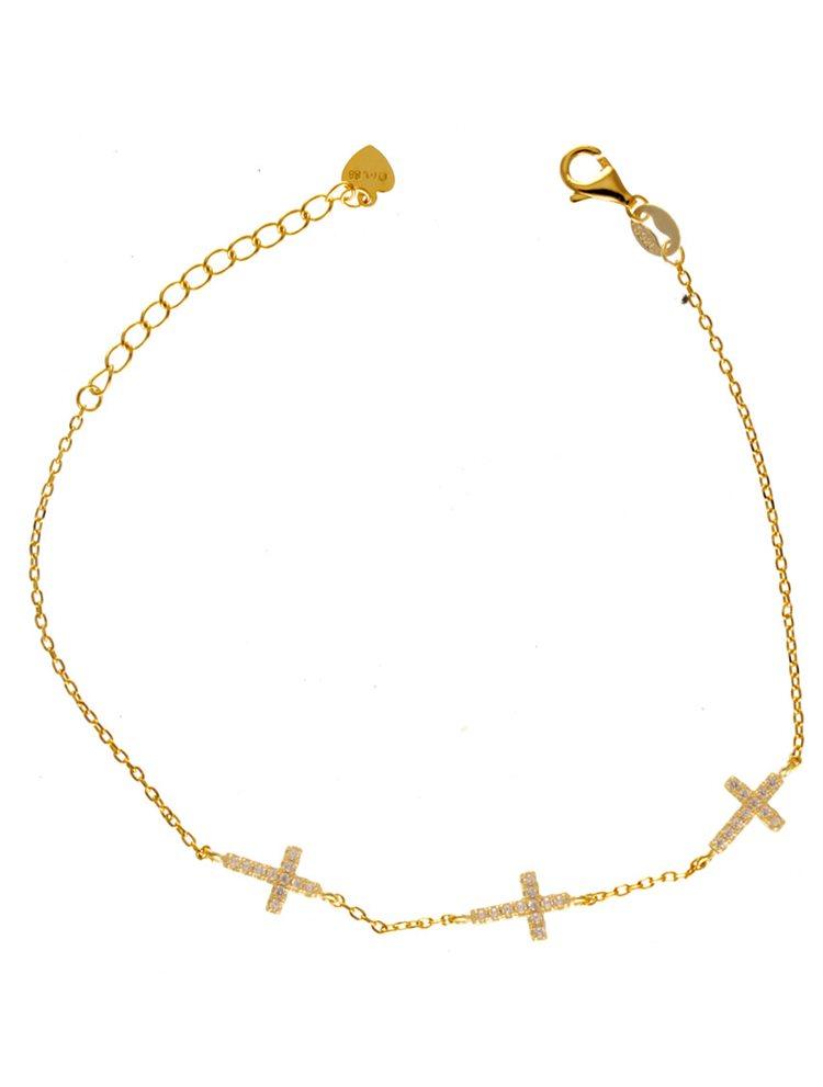 Βραχιόλι με τρείς σταυρούς ενσωματωμένους από επιχρυσωμένο ασήμι