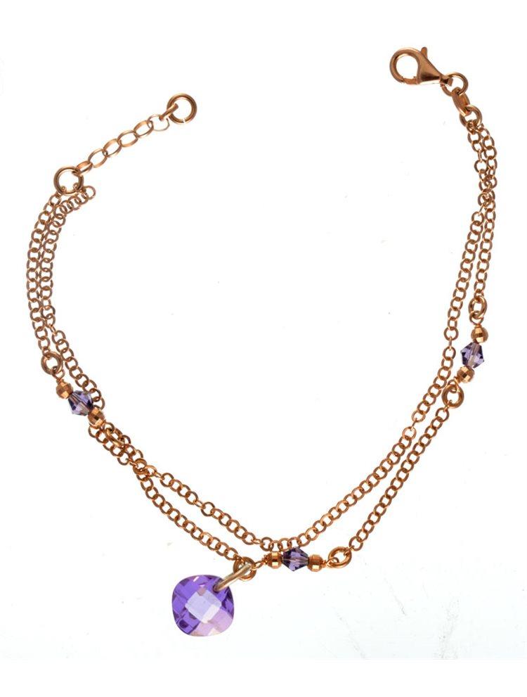Βραχιόλι χειροποίητο από ρόζ επιχρυσωμένο ασήμι με πέτρες ζιργκόν