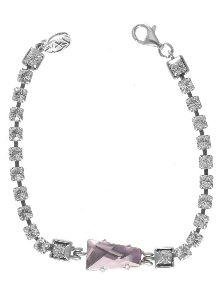 Βραχιόλι ριβιέρα από ασήμι με πέτρες swarovski σε λευκό χρώμα και μια εντυπωσιακή light pink