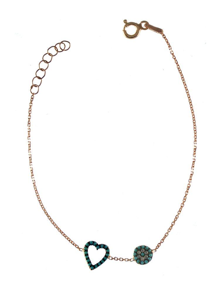 Βραχιόλι με καρδιά και ματάκι από ρόζ επιχρυσωμένο ασήμι με πέτρες ζιργκόν