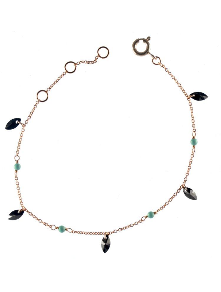 Βραχιόλι με κρεμαστά στοιχεία από ρόζ επιχρυσωμένο ασήμι με πέτρες ζιργκόν