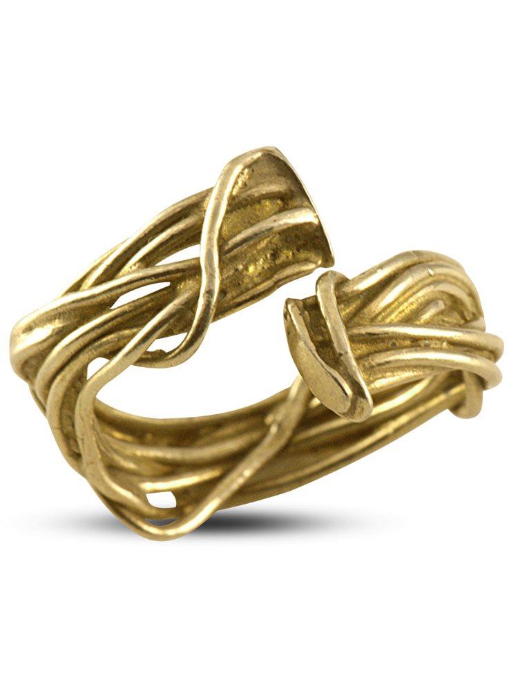 Δαχτυλίδι Χειροποίητο πλεκτό από επιχρυσωμένο ασήμι