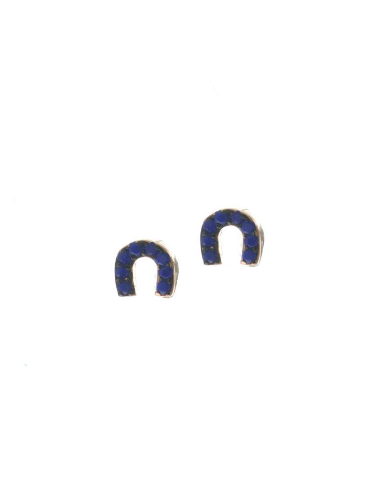 Σκουλαρίκια πέταλο από ρόζ επιχρυσωμένο ασήμι με πέτρες lapis
