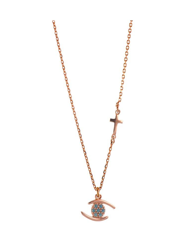 Κολιέ με ματάκι και σταυρουδάκι σε ρόζ επιχρυσωμένο ασήμι με τιρκουάζ πέτρες 9787fe4b4ee