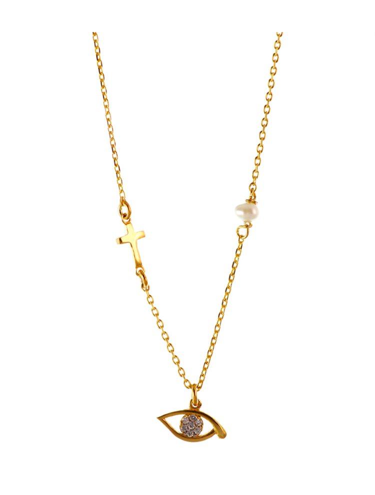 Κολιέ με μαργαριτάρι σταυρό και ματάκι από επιχρυσωμένο ασήμι